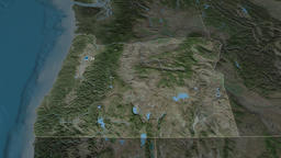 Oregon - state of the United States. Satellite Animation