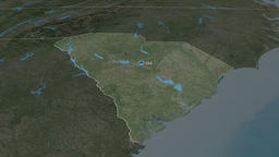 South Carolina - state of the United States. Satellite Animation