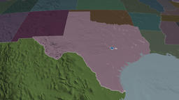 Texas - state of the United States. Administrative Animation