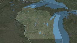 Wisconsin - state of the United States. Satellite Animation