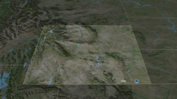 Wyoming - state of the United States. Satellite Animation