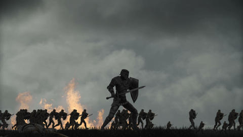 Army of medieval Warriors Running to battle Footage