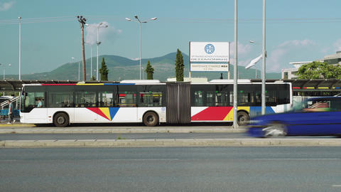 Thessaloniki, Greece A.S. IKEA terminal of OASTH public transportation city bus Footage
