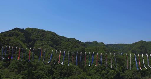 Carp streamers at Ryujin big bridge in Ibaraki daytime sunny copy space Footage