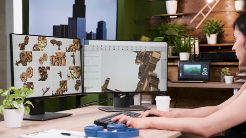 Female designer works in 3D CAD designer software Footage