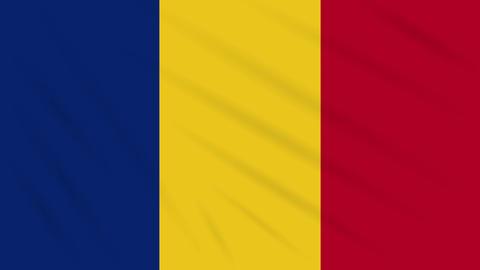 Romania flag waving cloth background, loop Animation