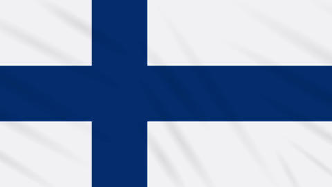 Finland flag waving cloth background, loop Animation