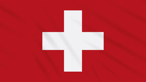 Switzerland flag waving cloth background, loop Animation
