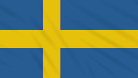 Sweden flag waving cloth background, loop Animation