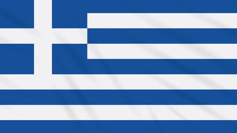 Greece flag waving cloth background, loop Animation