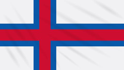 Faroe Islands flag waving cloth background, loop Animation
