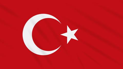Turkey flag waving cloth background, loop Animation