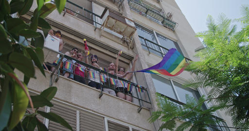 Tel Aviv, Israel - June 14 2019. People celebrating in the LGBT pride parade Footage