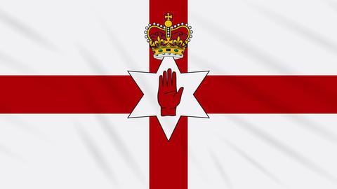 Northern Ireland flag waving cloth background, loop Animation