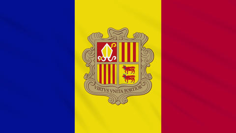Andorra flag waving cloth background, loop Animation