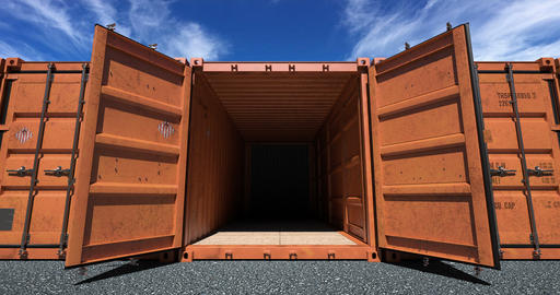 Shipping container doors opening Animation