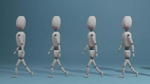 slow walking group of people Animation