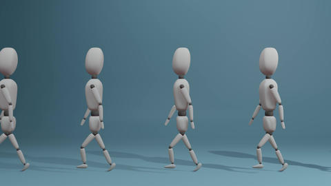 walking group of people with one different blue man Animation
