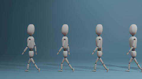 walking group of people with one different red man Animation