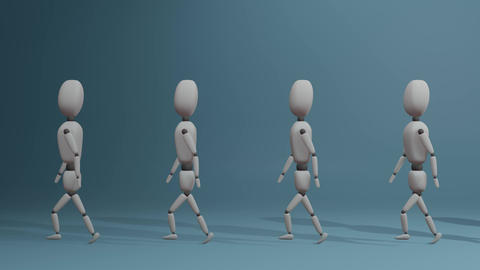 slow walking group of people with one different red man Animation