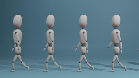 slow walking group of people. looped Animation