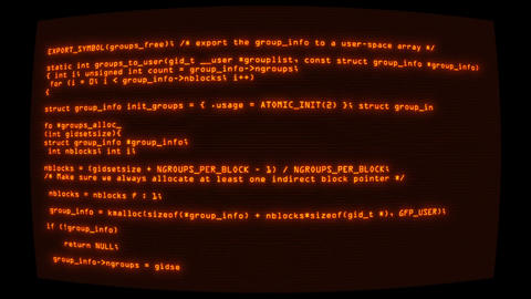 Orange Hacker Text Code on Screen Graphic Element Background Animation