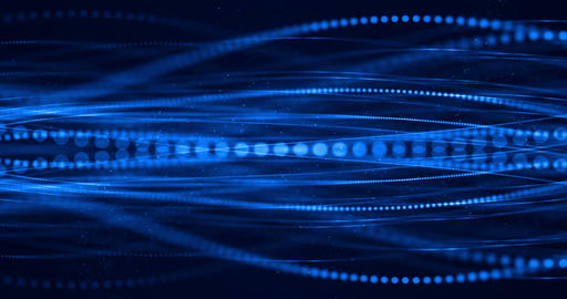 abstract blue growing bright bunch of optical fibers background, fast light signal for high speed Live Action