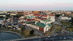 Aerial View of Minsk (Belarus) Cityscape - Upper Town with Svisloch River Footage