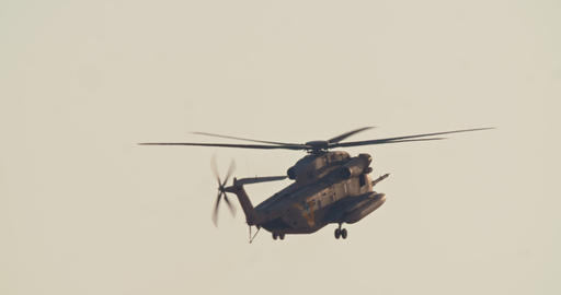Military helicopter during a rescue mission in a base Live Action