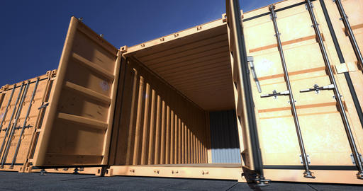 Empty shipping container doors opening Animation