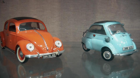 Small scale two models of real cars Footage