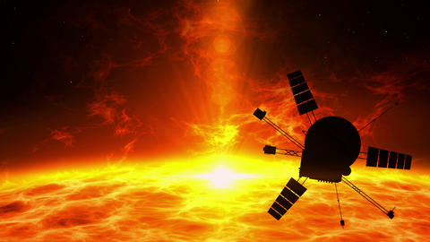 Spacecraft flying over solar eruption - exploration Animation