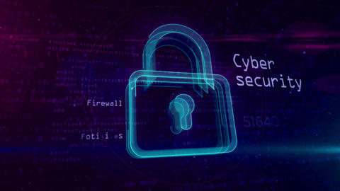 Cyber security abstract concept with padlock Animation