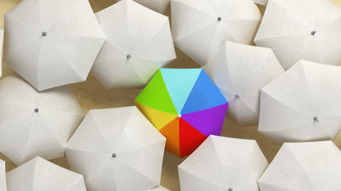 Multicolor Umbrella Wades Through a Flow of White Umbrellas, Standing Out from the Crowd Concept Animation