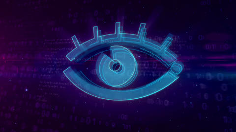 Cyber spying digital concept with spy eye Animation