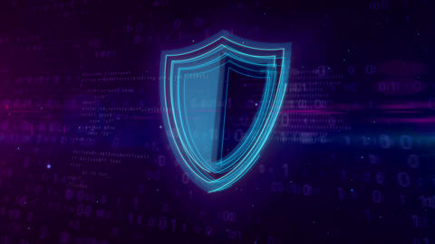 Cyber security digital concept with shield Animation