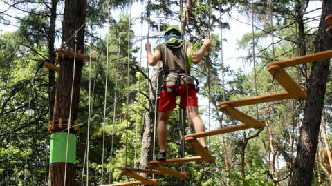 Man climbing in Adventure Park Footage