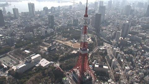 東京タワー 空撮 Footage