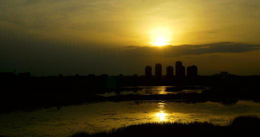Timelapse Sunset Over Bucharest City Skyline In Romania Footage