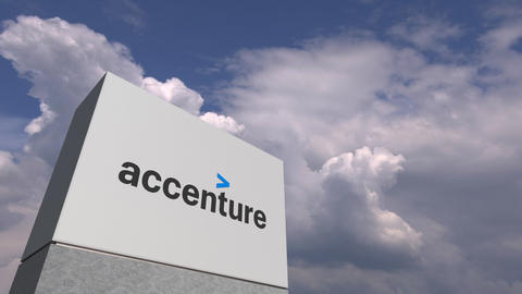 Logo of ACCENTURE on a stand against cloudy sky, editorial 3D animation Live Action