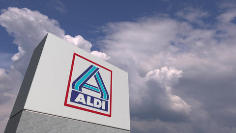 ALDI logo on sky background, editorial 3D animation Live Action