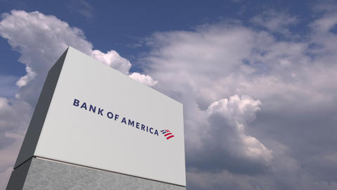 Logo of BANK OF AMERICA on a stand against cloudy sky, editorial 3D animation Footage