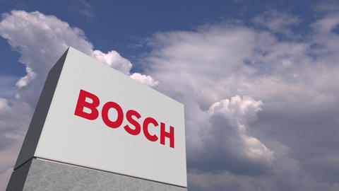 BOSCH logo on sky background, editorial 3D animation Live Action