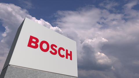 BOSCH logo on sky background, editorial 3D animation Stock Video Footage