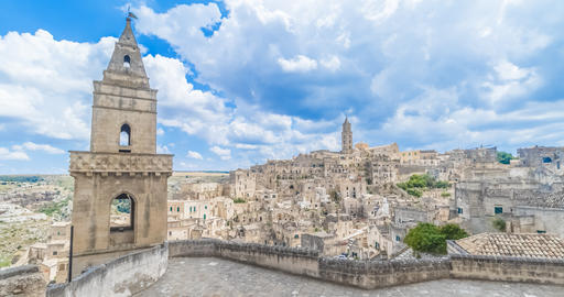 panoramic view of typical stones (Sassi di Matera) and church of Matera UNESCO European Capital of Footage