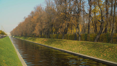 Beautiful autumn view on Summer Garden in Saint Petersburg fom the Swan Canal Footage