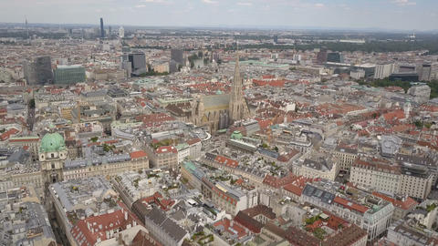 vienna city skyline aerial shot. AERIAL view of Vienna. Cathedrals and cityscape Footage