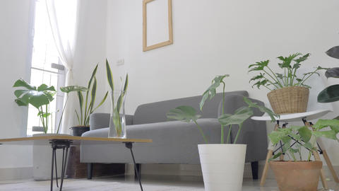 Zoom in Slow motion,Cozy Modern Living Room Interior Footage
