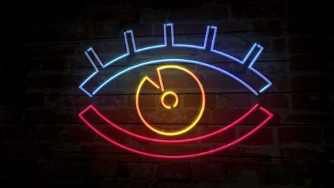 Eye neon icon on brick wall Animation