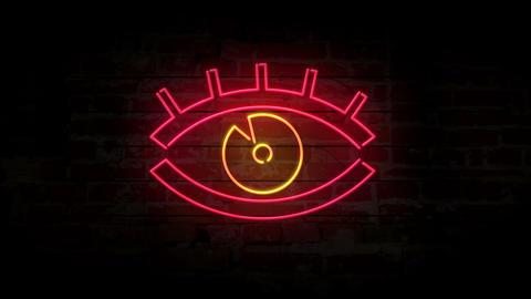 Eye neon symbol on brick wall Animation